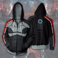 Mäns Hoodies Sweatshirts 2021 Hooded Mass Effect Zip Up Hoodie 3D Tryckta dragkedja hip hop toppar