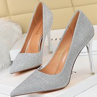 Dress Shoes Woman Pumps Sliver Pink High Heels Sequin Cloth Women Stiletto Party Sexy Female Ladies