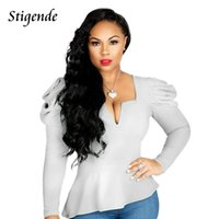 Women's Blouses & Shirts Stigende Women Spring Puffy Sleeve Blouse Shirt Casual Long Crop Fashion Solid Color Sexy Irregular Top