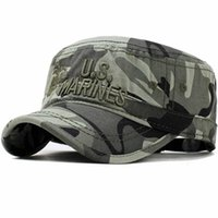 Wide Brim Hats 2021 United States US Marines Corps Cap Hat Military Camouflage Flat Top Men Cotton HHat USA Navy Embroidered Camo