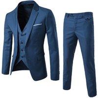 Men's Suits & Blazers XF002 S-6XL High Quality Man Suit Three Piece Blazer &Vest Jacket &Pants Wedding Groomsman Business Casual