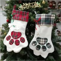 Christmas Stocking Monogrammed Pet Dog Paw Gift Bag Plaid Xmas Stockings Christmas Tree Ornaments Decorations Party Decor 2 Styles
