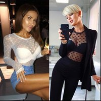Sheer Mesh Long Sleeve Women Shirt See Through Polka Dot Tops Party Transparent Bodycon Bandage