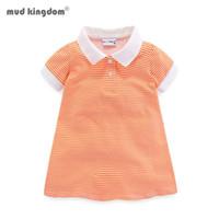 Mudkingdom Tunik Kızlar Polo Gömlek Şerit Yumuşak Kısa Kollu Yaz Yaka Çocuk Giyim Çocuklar Için Çocuklar Tops 210615