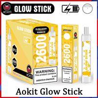 100% Оригинал Aokit Glow Stick Diquable Устройство Сигареты 2600 Средства 8 мл Заполненные Vape Pods Аккумуляторная батарея Воздушающая Loy XL