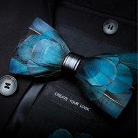 Gusleson 새로운 패션 망 수제 깃털과 가죽 나비 넥타이 선물 상자와 결혼식 파티에 대 한 사전 묶인 bowtie