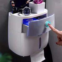 Titular de papel higiénico Impermeable Plástico Montado Montado Baño Teléfono Estante Estante Bandeja Bandeja Portable Rollo 210720