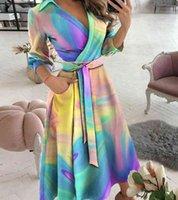 Women's dresses Summer Dot letter Print V-neck Half Mouw Irregular dress Elegant office Dame Party Casual Wear 2021 Fashion New