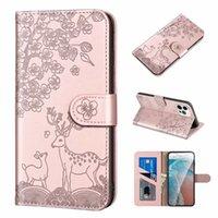 Fashion Sika Deer Portafoglio in pelle Casetti per Moto G30 Sony 10 II 5 III iPhone 12 Mini 13 Pro Max 2021 11 XR XS X Flower Flower Animal Bithly Credit ID Holder Holder Holder Cover