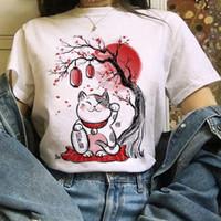 Yaz Sevimli T Gömlek Casual Kadınlar Moda Tshirt Grafik Japon Tarzı Mürekkep Boyama Kawaii T-Shirt Tees Top te Kadınlar