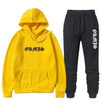 Marka 2 Parça Setleri Eşofman Erkekler Kapşonlu Kazak + Pantolon Kazak Hoodie Sportwear Suit Hombre Moda Okmjs Mektup Baskı Set X0610