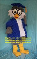 Wise Blue Grey Doctor Owlet Owl Adult Mascot Costume Mascotte With Big Bluely Doctorial Hat Blues Coat Gray Pants No.553 Free Ship