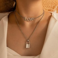Pendant Necklaces Gothic Style Woman Fashion Pendants And Husband Love Hollow Lock Mobile Beads Of Friendship Jewelry