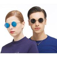 Marco de metal redondo de alta gama Gafas de sol Damas espejo polarizado Gafas de sol Hecho a medida Myopia Minus Lente de prescripción -1 a -6
