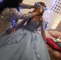 2021 Exquiste Vintage Light Blue Quinceanera Dresses Long Sleeves Lace Appliques Crystal Beads Sweetheart Corset Back Plus Size Formal Party Prom Evening Gowns
