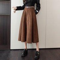 Skirts 2021 Autumn Winter High Waist Covering Crotch, Thin Versatile, Hanging Feeling, Medium and Long A-line Skirt, Women's Umbrella