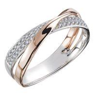 Wedding Rings Trendy Two Tone X Shape Cross For Women Fashion Fresh Jewelry Dazzling Zircon Stone Large Modern Men Ring Anillos