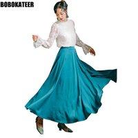 التنانير Bobokater تنورة طويلة المرأة مثير عالية الخصر إمرأة أزرق لو قصر خمر ماكسي jupe فام faldas موهير الأزياء 2021