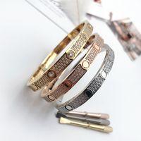 Bracelet en acier inoxydable de luxe en acier inoxydable de diamant de luxe Femme Mens Hommes Designer Amour Glaced Out Bracelets Bangles Tournevis Bijoux