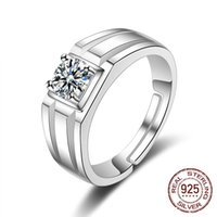 Luxury 925 Silver Rings For Men Women Size Adjustable 6mm Cubic Zircon Opening jewelry Personality