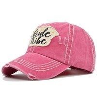Party Kapelusze Haftowane Czapki z daszkiem Patch Bride Letters Sports Sports Sun Hat Distressed Messy Bun Trucker Cap HWF8299