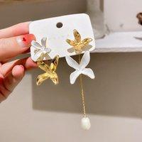 Dangle & Chandelier Fashion Long Tassel Flower Petal Pearl Earrings Wedding Christmas Gift Zircon Drop Women Jewelry