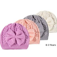 Caps & Hats Girl Turban Headwrap With Big Bow Baby White Pink Purple Gray Crochet Knitted Beanie Toddler Kids Winter Fashion Cap 0-36 Months