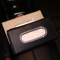 Strasssteine Kristallauto Tissue Box für Sonnenvisier PU-Leder Hängen Auto Tissue Bag Holder Sunshade Fall Diamant Autozubehör 03