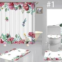 꽃 인쇄 샤워 커튼 클래식 스타일 세 조각 세트 우아한 목가적 인 다채로운 변기 커버 세트