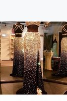 Blingbling Major Beaded Mermaid Two Piece Long Prom Dresses Sexy Open Back Split Formal Evening Party Prom Gowns Custom MAde