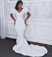 Robe De Marrige V Neck Feathers Short Sleeves Wedding Gowns Buttons Back Long Sweep Mermaid Bridal Dresses