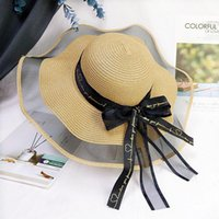 Wide Brim Hats 2021 Fashion Summer Women Sun Straw Hat With Lace Bowknot Beach Travel Big UV Protection Paper Cap For Girl