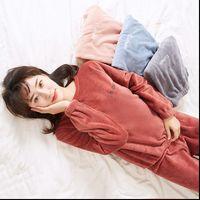 Pajamas Set Homewear Pyjama Womens Sleepwears Plus Size Sexy Warm Flannel Pants Winter Sleepwear Femme Plush Clothes