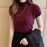T-shirt das mulheres Diário de pérola Mulheres de tricô Tops de manga curta Mock pescoço de malha tshirt cor sólida estilo básico slim ajuste camisola para b4vb