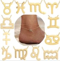 12 Constellations Anklets Zodiac Sign Horoscope Pendant Jewelry Astrology Birthday Gift with Message Card for Women