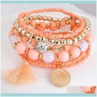 Tennis Jewelry6 Colors Bracelet Strand Boho Bracelets Women Friendship Bohemian Tassel Seed Beaded Handmade Bijoux Femme Diy Jewelry Drop De