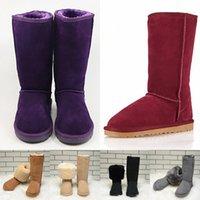 أزياء أسترالية الشتاء طويل الفراء الثلوج أحذية النساء جلد الغزال فوق الركبة الأحذية الإناث أنبوب أحذية طويلة 35-42ppip #
