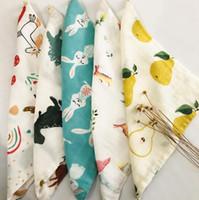 Kindergarten cara toalla limpiando manos llano bambú algodón 6 capas pequeñas bebés cuadradas limpiar caras toallas de mano 28 * 28cm gwe6350