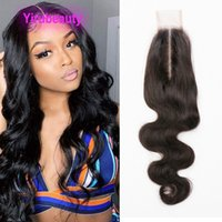 Indian 2X6 Lace Closure Baby Hairs Straight Deep Wave Yaki Middle Part 12-24inch Wholesale Remy 100% Human Hair Top Closures Yirubeauty