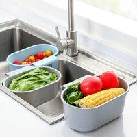 Kitchen Storage & Organization Sink Strainer Fruit Vegetable Drainer Basket Waste Filter Sponge Hanging Rack Shelf L3