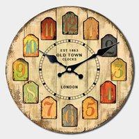 Relógios de parede grande relógio decorativo colorfull bloco árabe Numeral vintage industrial rústico casa estilo redondo de madeira