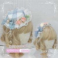 Altri forniture per feste di eventi Handmade Lolita Tambourine Gadget Grigio Blu Gloves Accessori per capelli Guanti Top Hat Band Bow Edge Clip