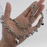 21fw Raf Simons R letter thorn love asymmetric chain necklace for men and women fashion hip hop Street Bracelet