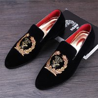 Dress Shoes Men's Fashion Suede Leather Embroidery Loafers Mens Casual Printed Moccasins Oxfords Man Party Driving Flats EU size 38-45 9XIN