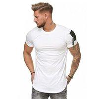 Men's T-Shirts Summer 2021 Short-Sleeve T-Shirt Hip Hop Zipper Shoulder Streetwear Longline Curved Hem Slim Funny Plus Size M-3XL