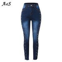 Jeans femininos Anbenser Beading High Cintura Senhoras Stretch Stretch Lápis Calças Denim Calças Feminino Plus Size S-XXL 79UQ