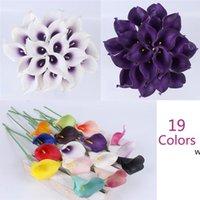 21pcs / lot Natural Real Touch Flower Bouquet Calla Lily Decorazione di nozze decorazione falsa per la casa Festival del partito Decor 19 colori DHD6069