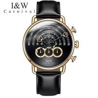 Кварцевые часы Мужчины Черный Кожаный Ремешок Мужские Часы Волшебный дизайн Несколько часовой пояс Водонепроницаемый наручные часы Эркек Kol Saati Наручные часы