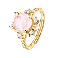 High Quality Faceted Cut Natural Rose Quartz Sun Ring In 925 Sterling Silver Engagement Wedding Jewelry For Women Gift