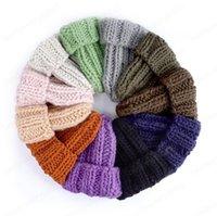 Hüte für Frauen Solide Einfache Grobwolle Visiere Hat Beanie Häkeln Strick Kufi Blume Schädelkappe Haarschmuck